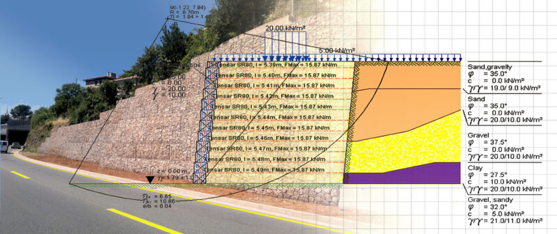 Analysis of Earth Retaining Structures using Layered Walls and Reinforced Soil with DC-Software